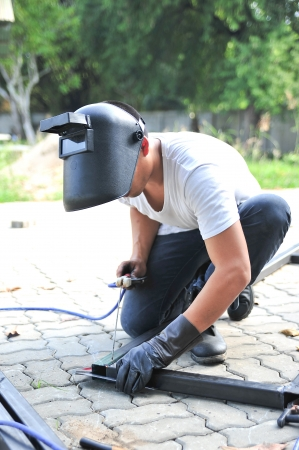 A welder in action photo
