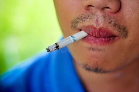 man smoking cigarette closeup Stock Photo - 16602679