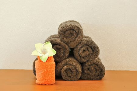 bunch of brown towels in spa photo