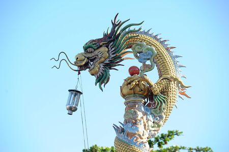 Dragon statue on pillar in Chinese Temple photo