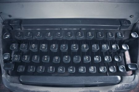 Keyboard of a vintage typewriter in close up photo