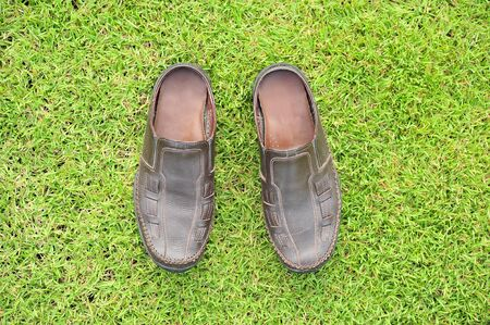 shoes on grass field photo