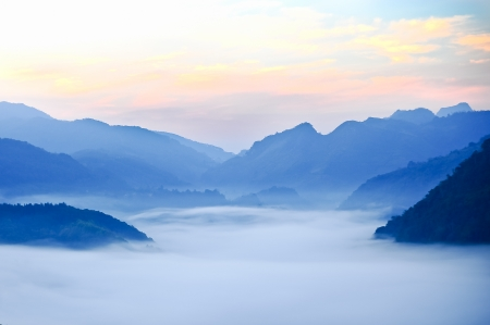 Chiang Mai morning on hilltop view,Thailand