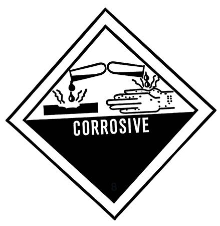 corrosive: warning label of corrosive, destroys living tissue on contact, hazard symbol or warning sign on white background