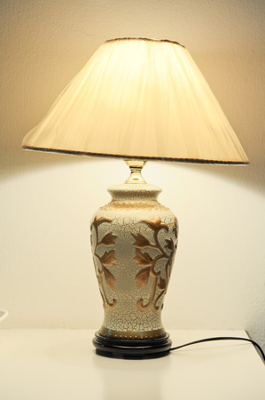lampshade: lamp in the room on the table