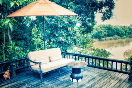 armchairs and river  view on the Terrace photo