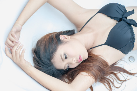 sexy girl bikini: portrait sexy thai bikini girl Stock Photo