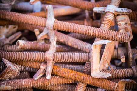 metal structure: old rusty grungy metal or bars in construction structure Stock Photo