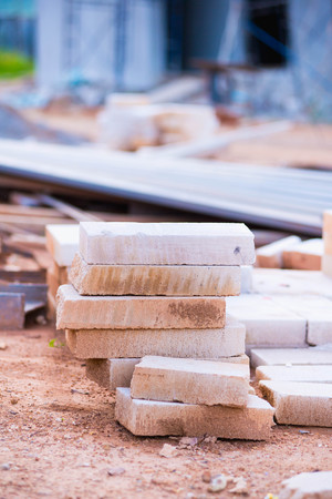 dispose: Cement scrap bricks from building construction waiting for dispose Stock Photo