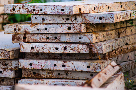 metal pole: old rusty grungy metal or bars in construction structure Stock Photo