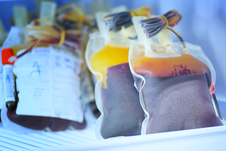 blood transfer: blood pouch in refrigerator at blood bank at laboratory hospital