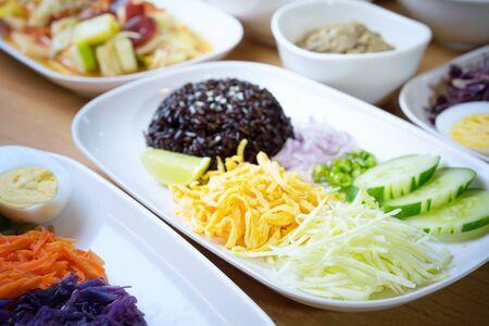 KA: Kao Cluk Ka Pi, Mixed Cooked Rice with Shrimp PAste Sauce, thai style, food for health concept Stock Photo