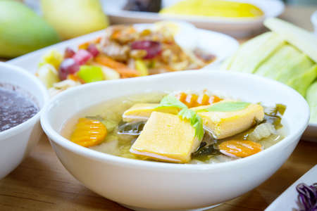 soya bean: the soya bean curd soup, food for health concept