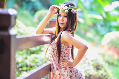 fashion shoot of asia Beautiful young woman portrait on outdoor