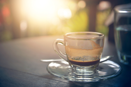 decreased: drinking coffee was decreased to half a cup on table in morning, espresso coffee, vintage style