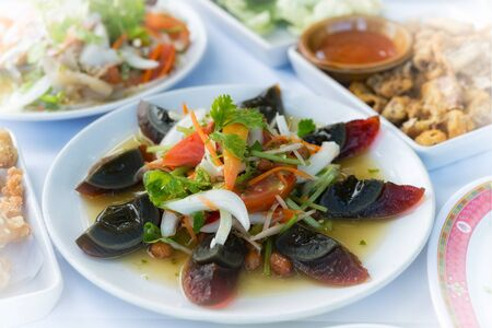 duck egg: yum kai yeaw ma or preserved egg salad food thai style in restaurant