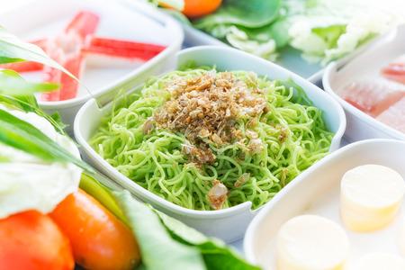 Jade Noodle, set of food suki is japanese food in restaurants, soup, thai style