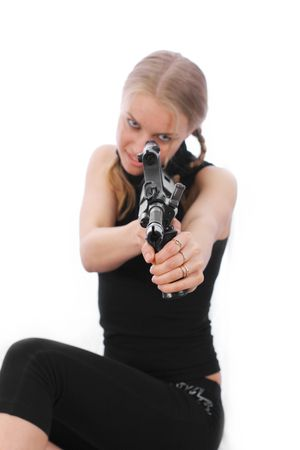 which: Isolated girl with a gun. White background which is easy to remove.