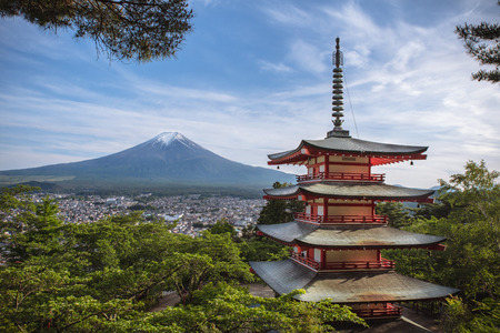 Chureito Pagoda with Mount Fuji in the background