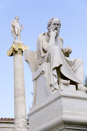Socrates in front of the Academy of Athens photo