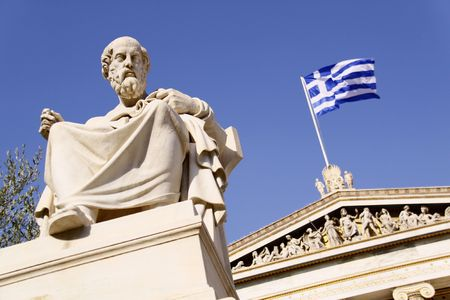 Platon in front of the Academy of Athens