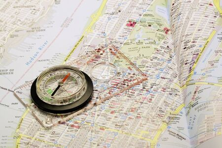 Compass on a map Stock Photo
