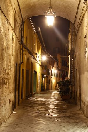 Street in Lucca at night, Italy