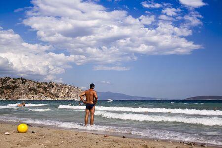 A beautiful sandy beach in Greece photo