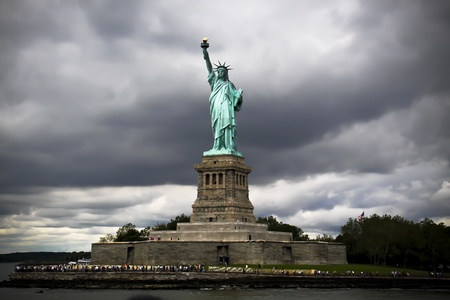 The symbol of New York, the Statue of Liberty , near Manhattan