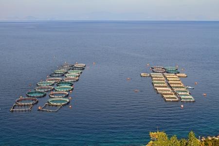 Fish farms in Peloponesse, Greece Editorial