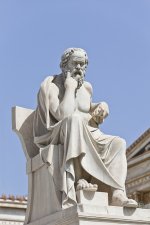 ancient philosophy: Socrates in front of the National Academy of Athens, Greece Stock Photo