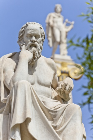academy: Socrates in front of the National Academy of Athens, Greece Stock Photo