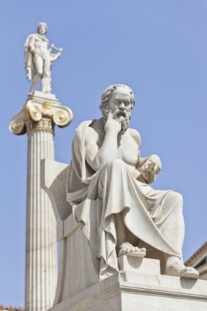 Socrates in front of the National Academy of Athens, Greece 免版税图像