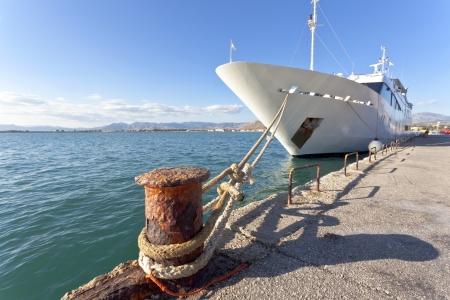 Mega yacht docked in harbor