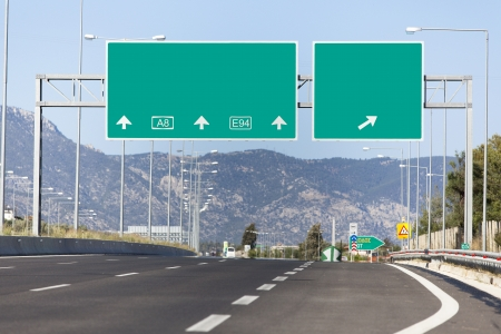 Highway road sign 스톡 콘텐츠