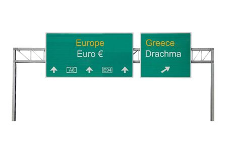 Europe-Greece and Euro-Drachma road sign photo