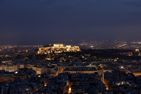 Panoramic view of Athens and Acropolis by night photo