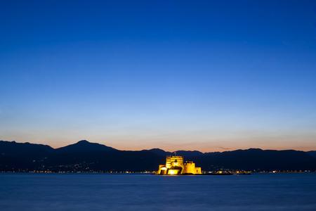 bourtzi: The castle in the city of Nafplio, Greece Editorial