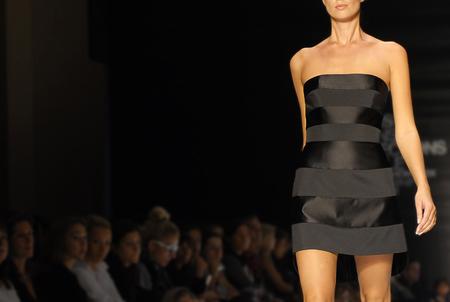 A model walks the runway