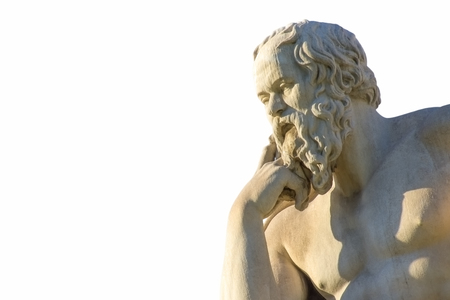 Greek philosopher Socrates in front of the National Academy of Athens Stock Photo