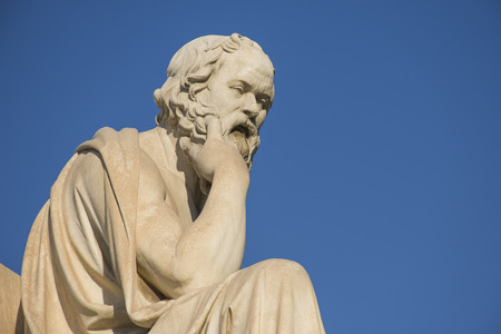 Greek philosopher Socrates in front of the National Academy of Athens Stok Fotoğraf