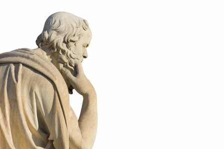 philosophic: Greek philosopher Socrates in front of the National Academy of Athens Stock Photo