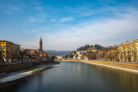 Panoramic view of Verona on Adige river. Veneto region. Italy