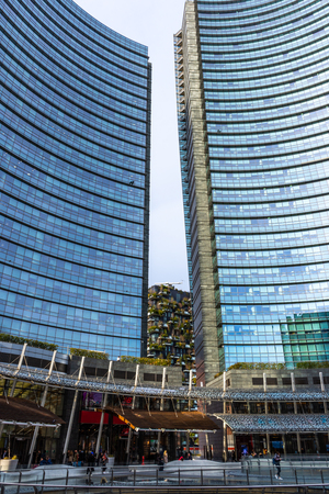 Milan skyline with modern skyscrapers in Porta Nuova business district, Italy.