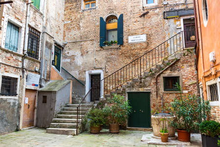 Beautiful back yard of traditional Venice houses, Italy