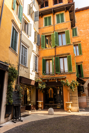 View of the downtown streets in Verona, Italy
