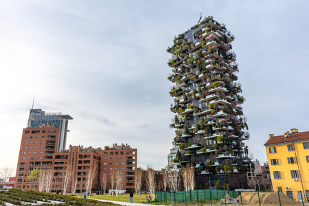 Bosco Verticale, vertical forest apartment buildings in the Porta Nuova area of the city, Milan, Italy
