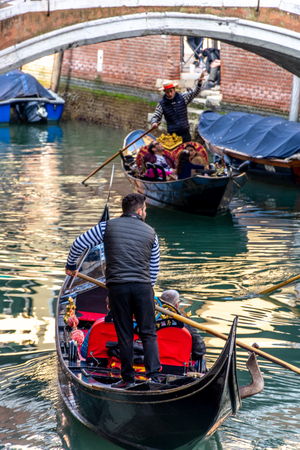 Canal with gondolas in Venice, Italy
