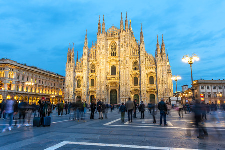 Piazza Duomo with People and Tourists and Blue Sky in Milan,Italy