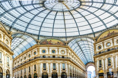 People goes shopping in the oldest shopping mall, Galleria Vittorio Emanuele II, Milan, Italy